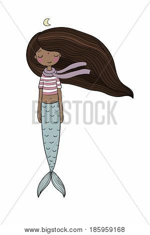 African American mermaid. Siren. Sea theme. isolated objects on white background. Vector illustration.