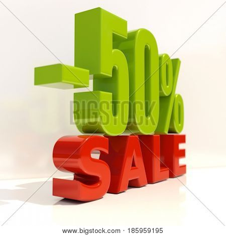 3d render: Sale Banner or Poster Discount Template, Retail Image 50% Sale Sign