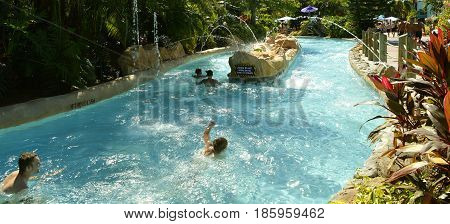 Aquatica waterpark Orlando Florida USA - October 23 2016: Children in Roa's Rapids adventure play area in Aquatica water park