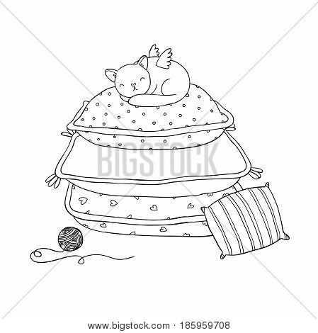 Beautiful pillows and cat on a white background. Simple cushion. Vector illustration.