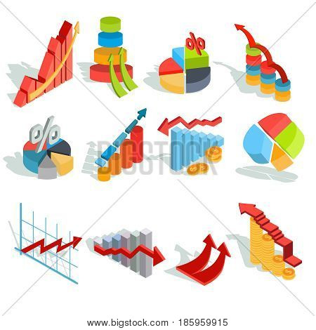 Set of vector isometric illustrations, infographic icons - graphics, diagrams, histograms, arrows of various types