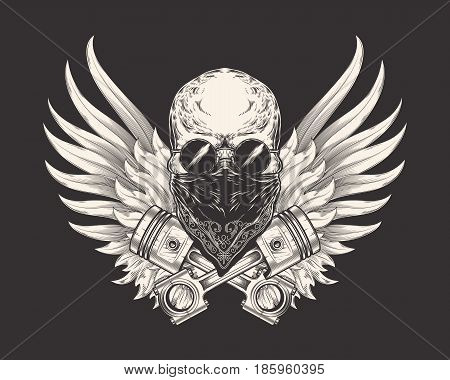 Vector illustration of a skull racer in sunglasses, bandanna and with pistons. Sketch of a tattoo, emblem, element of a dizan, print for a T-shirt