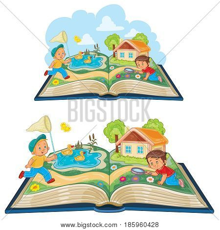 Vector illustration of young children studying nature as an open book, metaphor