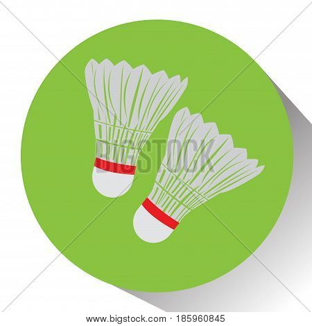 Isolated pair of badminton shuttlecocks on a colored button, Vector illustration