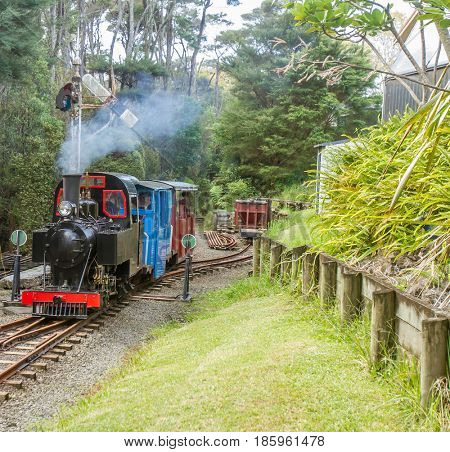 old styled steam engine riding by the narrow gauge railway