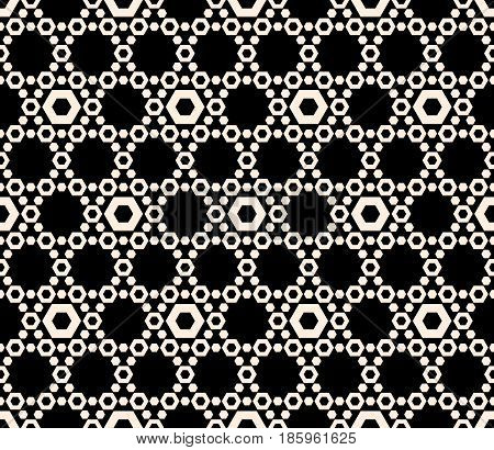 Vector hexagons texture, geometric seamless pattern with perforated hex, delicate hexagonal grid. Abstract monochrome subtle background, repeat tiles. Dark design element for prints, textile, digital