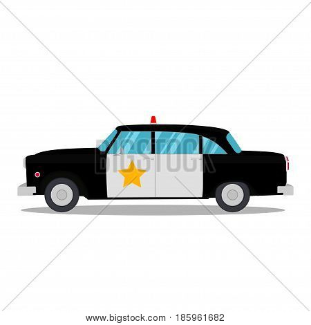 Retro police car isolated on a white background. Vector illustration