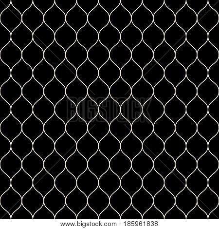 Vector seamless pattern, thin wavy lines. Dark texture of mesh, fishnet, lace, weaving, subtle lattice. Simple monochrome geometric background. Design for prints, decor, fabric, cloth, digital, web