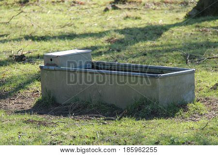 A Galvanised Metal Animal Water Trough in a Farm Field.
