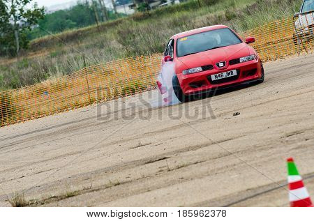 Caia Portugal - April 30 2017: Unidentified driver participates in a drifting demonstration at Drift Garnd Prix of Caia Contest.