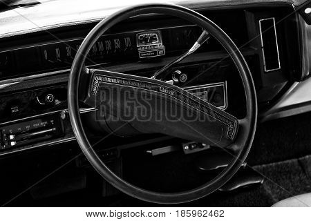 PAAREN IM GLIEN GERMANY - MAY 19: Cab full-size car Chevrolet Caprice Coupe 1973 (black and white)