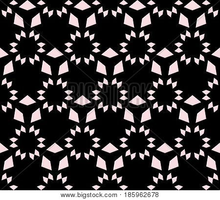 Vector monochrome seamless texture, floral tile pattern. Abstract geometric background with simple geometrical shapes, stars, triangles, repeat tiles. Dark design for prints, decor, covers, digital