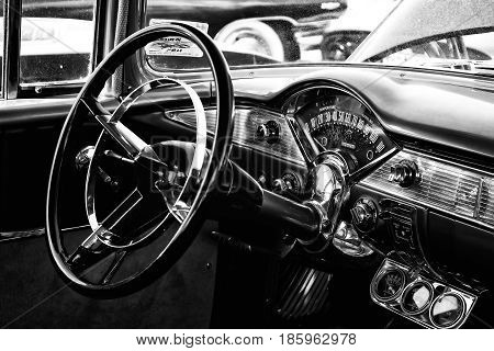 Paaren Im Glien, Germany - May 19: The Driver's Full-size Car Chevrolet Bel Air, Black And White,