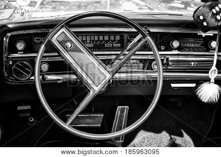 PAAREN IM GLIEN GERMANY - MAY 19: Cab full-size car Buick Le Sabre Custom 1967 Cabrio (black and white)