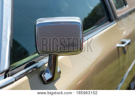 Paaren Im Glien, Germany - May 19: Rear-view Mirror Full-size Luxury Car Cadillac Coupe De Ville (19