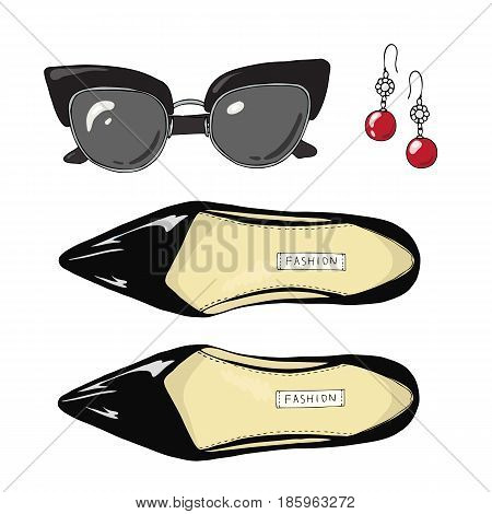 Fashion women shoes with sunglasses and earrings. Set.