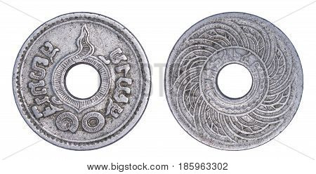 Thailand 10 satang coin (1935 or B.E.2478) isolated on white background.