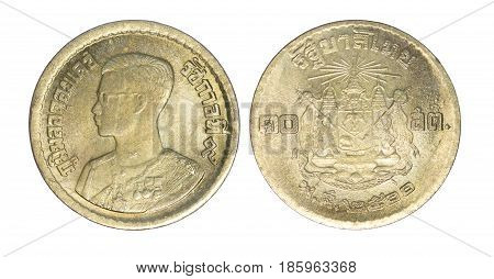 Thailand 10 satang coin (1957 or B.E.2500) isolated on white background.