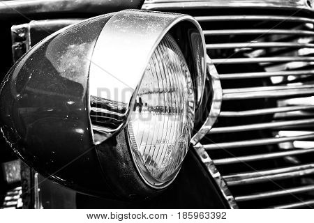 Paaren Im Glien, Germany - May 19: Car Headlamp Chevrolet Ak Pickup Truck (1938), Black And White,