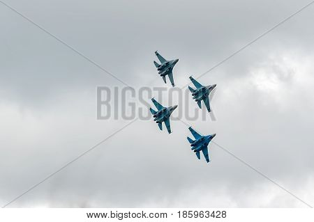 Nizhniy Tagil, Russia - September 25. 2013: fighters SU-27 display of fighting opportunities of equipment with application of aviation means of defeat. RAE-2013 exhibition Russia Arms Expo-2013