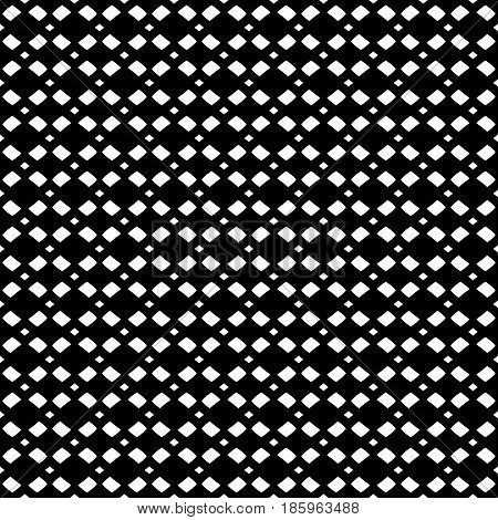 Vector monochrome mesh texture, geometric seamless pattern in black & white colors. Illustration with simple geometrical figures, staggered rhombuses. Stylish dark minimalist design for decor, prints