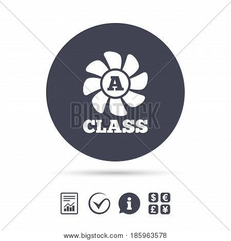 A-class ventilation icon. Energy efficiency sign symbol. Report document, information and check tick icons. Currency exchange. Vector