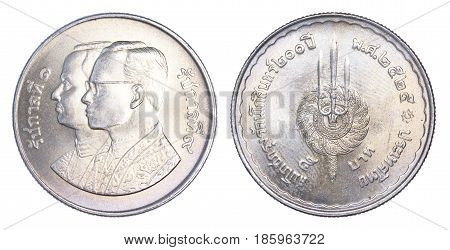 Thailand five baht coin (1982 B.E.2525) isolated on white background.