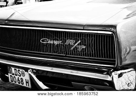 Paaren Im Glien, Germany - May 19: Detail Of The Front Of The Mid-size Car Dodge Charger R/t, (black