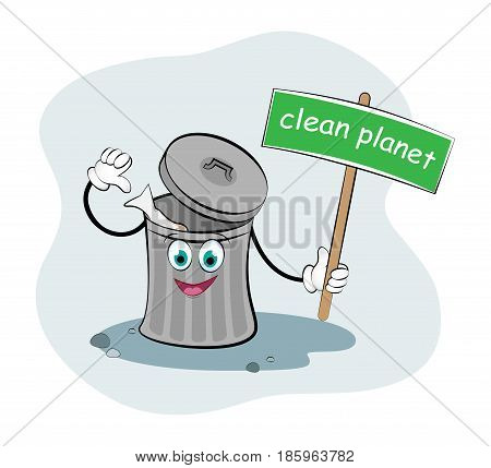 Funny rubbish bin. Vector illustration. Cute picture of a happy bin. Clean Planet without garbage.