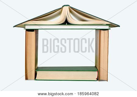 photography with scene of the book building on white background
