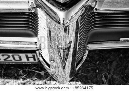Paaren Im Glien, Germany - May 19: The Emblem On The Bumper Of The Car Pontiac Firebird (1968), Blac