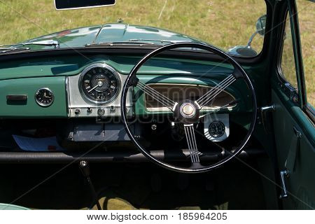 Paaren Im Glien, Germany - May 19: Cab British Car Morris Minor 1000,