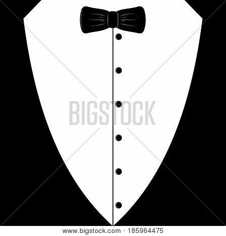Black tuxedo with tie. Template for the party. A symbol of a gentleman.