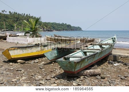 Hooker on the seaside of the village Ribeira Afonso, Sao Tome and Principe, Africa