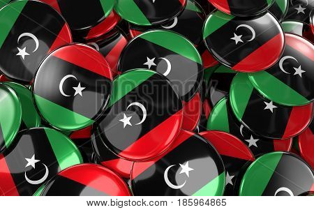 Libya Badges Background - Pile Of Libyan Flag Buttons.