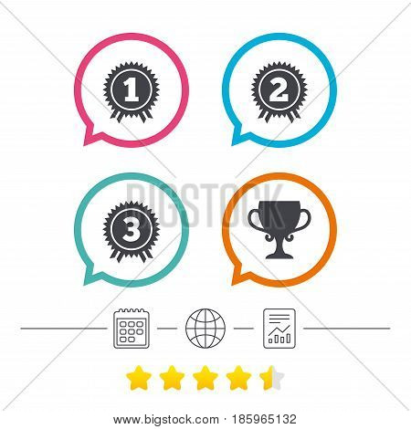 First, second and third place icons. Award medals sign symbols. Prize cup for winner. Calendar, internet globe and report linear icons. Star vote ranking. Vector