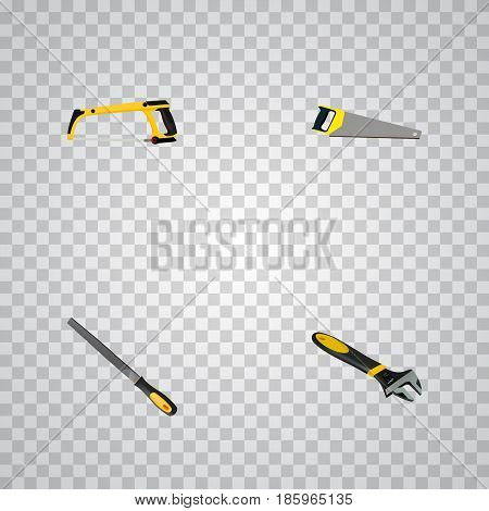 Realistic Hacksaw, Wrench, Arm-Saw And Other Vector Elements. Set Of Kit Realistic Symbols Also Includes Sawmill, Emery, Arm Objects.