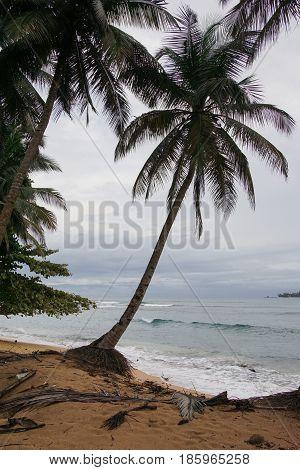 Praia Inhame on an overcast and rainy day, Sao Tome and Principe, Africa