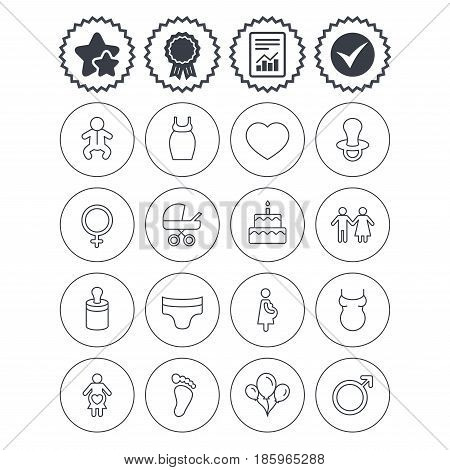 Report, check tick and award signs. Baby and Maternity icons. Toddler, diapers and child footprint symbols. Heart, birthday cake and pacifier thin outline signs. Vector