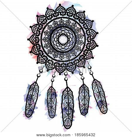 Dream catcher graphic in on watercolor background  with mandala lace tattoo style decorated with feather, beads and ornaments symbolizing native American people and their culture