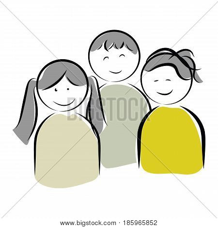 graphic design editable for your design, hand drawn happy kids isolated on white background. funny cartoon character. Vector Illustration.