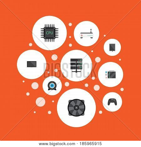 Flat Web Cam, Datacenter, Palmtop And Other Vector Elements. Set Of Laptop Flat Symbols Also Includes Router, Motherboard, Cpu Objects.