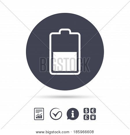 Battery half level sign icon. Low electricity symbol. Report document, information and check tick icons. Currency exchange. Vector