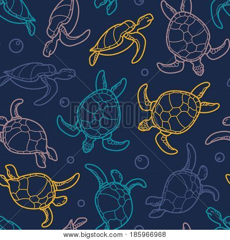 Cheloniidae. Seamless pattern with turtles. Linear graphics. Animal world under water. Ocean. Vector illustration.