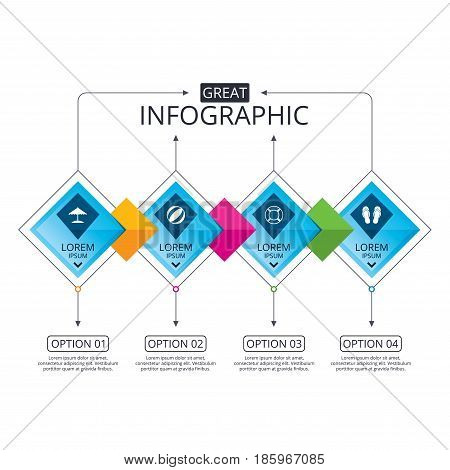 Infographic flowchart template. Business diagram with options. Beach holidays icons. Ball, umbrella and flip-flops sandals signs. Lifebuoy symbol. Timeline steps. Vector