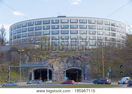 STOCKHOLM SWEDEN - MAY 01 2017: Car tunnels to the north link at the Roslagstulls traffic circle or roundabout. May 01 2017 in Stockholm Sweden