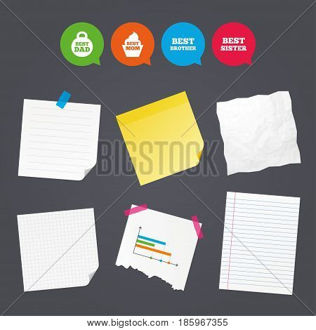 Business paper banners with notes. Best mom and dad, brother and sister icons. Weight and cupcake signs. Award symbols. Sticky colorful tape. Speech bubbles with icons. Vector