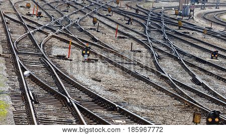 STOCKHOLM SWEDEN - MAY 01 2017: Lots of curved train tracks on the switchyard or marshalling yard. May 01 2017 in Stockholm Sweden