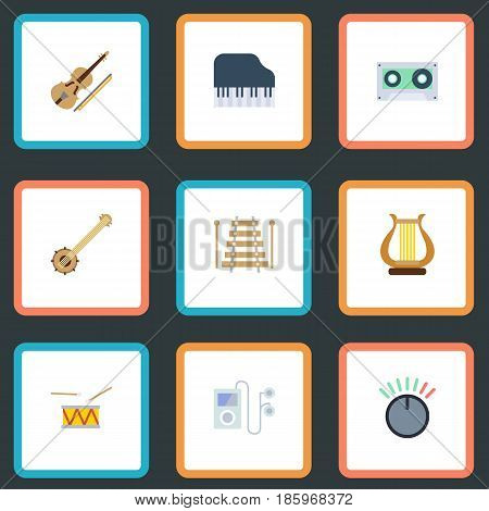 Flat Fiddle, Tambourine, Musical Instrument And Other Vector Elements. Set Of Music Flat Symbols Also Includes Instrument, Control, Audio Objects.