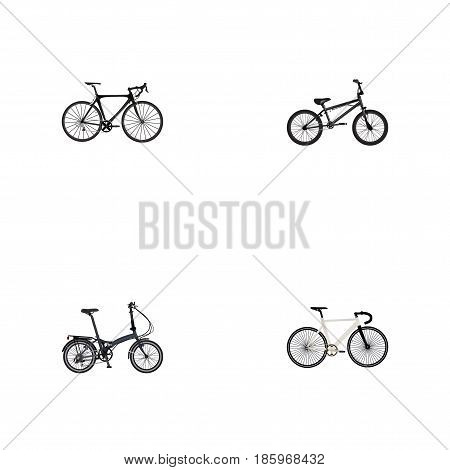 Realistic Extreme Biking, Road Velocity, Exercise Riding And Other Vector Elements. Set Of Lifestyle Realistic Symbols Also Includes Extreme, Road, Bike Objects.